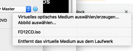 Virtual optical Medium select/create...